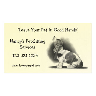 BASSET HOUND: PET SITTING BUSINESS CARD: PENCIL PACK OF STANDARD BUSINESS CARDS