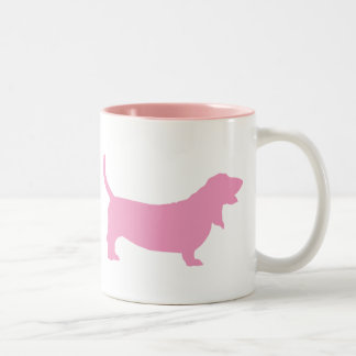 Basset Hound (pink) Two-Tone Coffee Mug