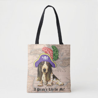 Basset Hound Pirate Tote Bag