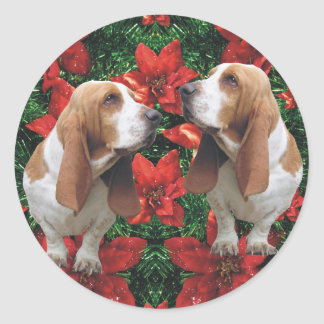 Basset Hound Poinsettia Christmas Classic Round Sticker