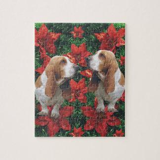 Basset Hound Poinsettia Christmas Jigsaw Puzzle