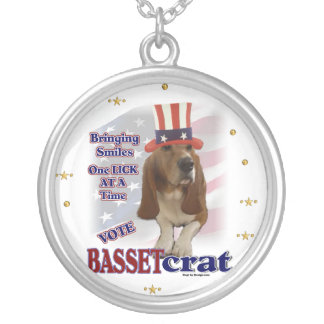Basset Hound Political Humor Round Pendant Necklace