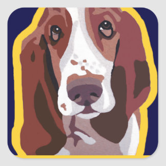 Basset Hound Pop Art Abstract  add pets name Square Sticker