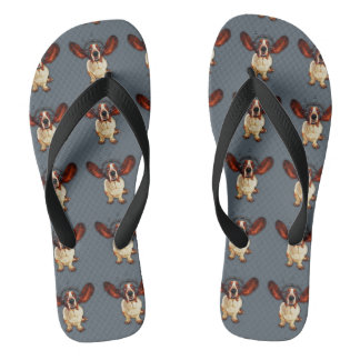 Basset Hound, Pop Art, Custom Adult, Wide Straps Flip Flops