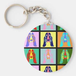 Basset Hound Pop Art Key Ring