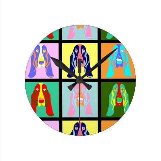 Basset Hound Pop Art Round Clock