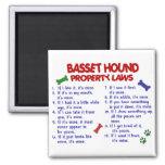 BASSET HOUND Property Laws 2 Square Magnet