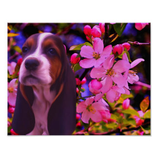 Basset Hound Puppy Blossoms Dog Art Poster
