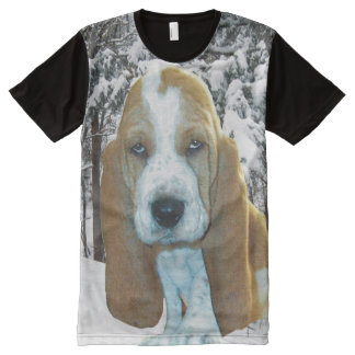 Basset Hound Puppy In Snowy Woods All-Over Print T-Shirt