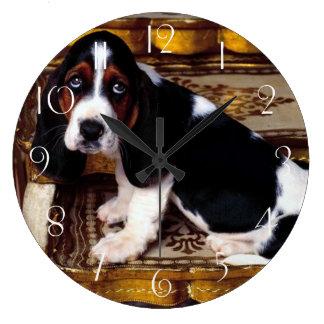 Basset Hound Puppy Large Clock