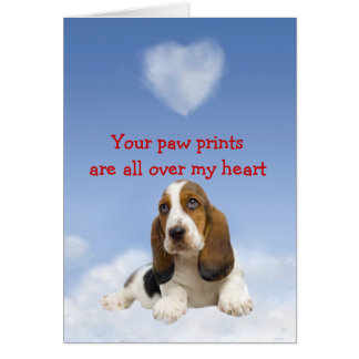 Basset Hound Puppy Love Card