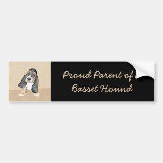 Basset Hound Puppy Painting - Original Dog Art Bumper Sticker