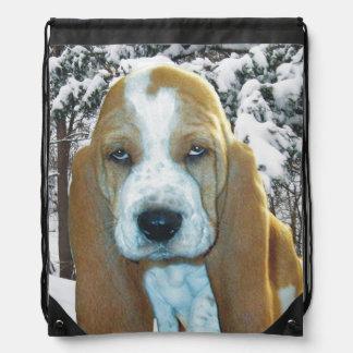 Basset Hound Puppy Snowy Woods Back Pack Rucksack