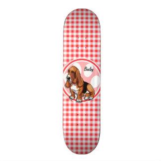 Basset Hound; Red and White Gingham 21.3 Cm Mini Skateboard Deck
