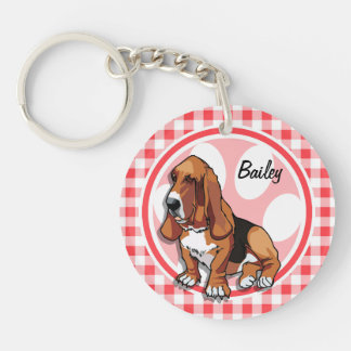Basset Hound; Red and White Gingham Acrylic Key Chain