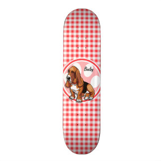 Basset Hound; Red and White Gingham 21.3 Cm Mini Skateboard Deck