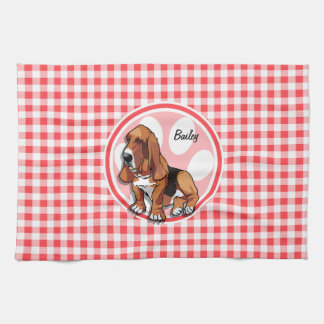 Basset Hound; Red and White Gingham Tea Towel