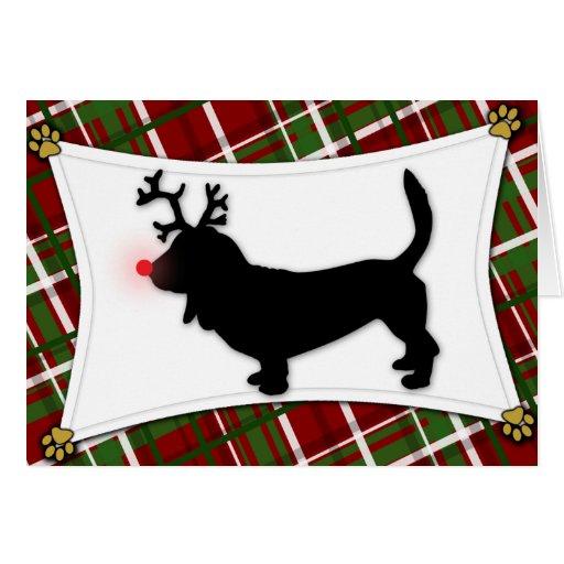 Basset Hound Reindeer Christmas Card
