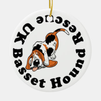 Basset Hound Rescue Round Ceramic Decoration