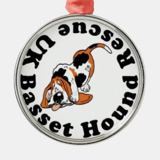 Basset Hound Rescue Silver-Colored Round Decoration