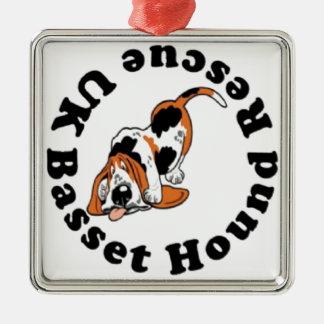 Basset Hound Rescue Silver-Colored Square Decoration