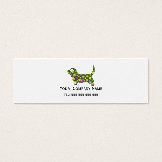 Basset Hound retro floral custom business card