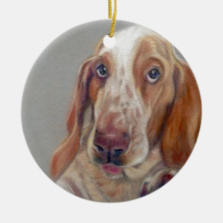 Basset hound round ceramic decoration