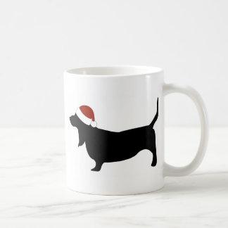 Basset Hound Santa Hat Mugs