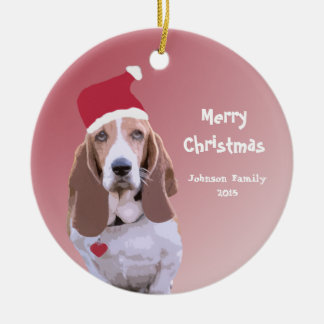 Basset Hound Santa Personalized Christmas Christmas Ornament
