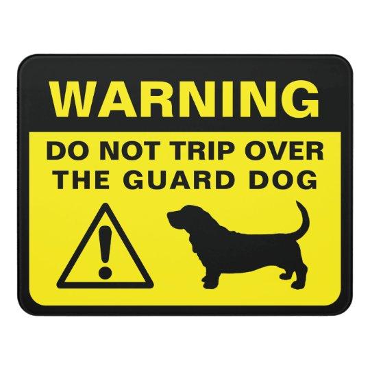 Basset Hound Silhouette Funny Guard Dog Warning Door