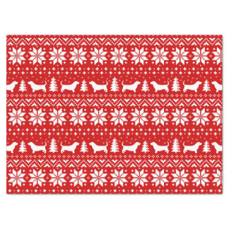 Basset Hound Silhouettes Christmas Pattern Red Tissue Paper