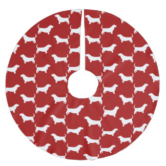 Basset Hound Silhouettes Pattern Brushed Polyester Tree Skirt