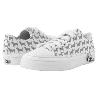 Basset Hound Silhouettes Pattern Low Tops