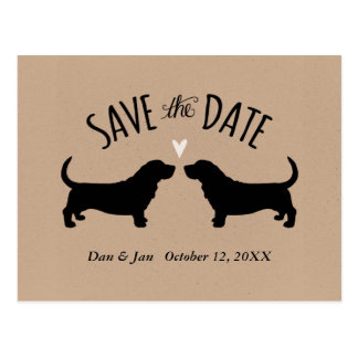 Basset Hound Silhouettes Wedding Save the Date Postcard