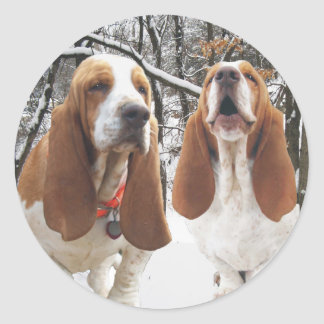 Basset Hound Snowy Woods Stickers