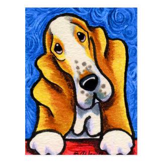 Basset Hound Starry Night Postcard