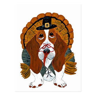 Basset Hound Thanksgiving Turkey Postcard