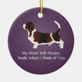 Basset Hound Thinking of You Design Round Ceramic Decoration