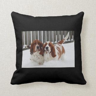 Basset Hound Throw Pillow. Cushion
