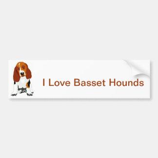 Basset Hound Tri-Colored Bumper Sticker