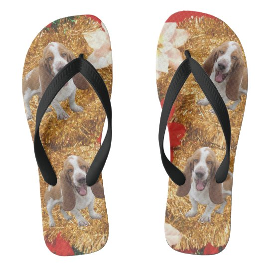 Basset Hound Ugly Christmas Sweater Flip Flops