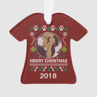 Basset Hound Ugly Christmas Sweater Ornament