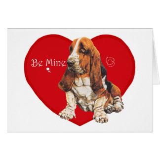 Basset Hound Valentine Greeting Card