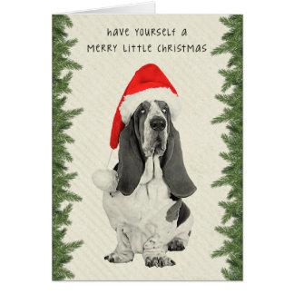 Basset Hound Vintage Style Christmas Greeting Card