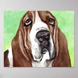 Basset Hound Watercolor  Art Prints
