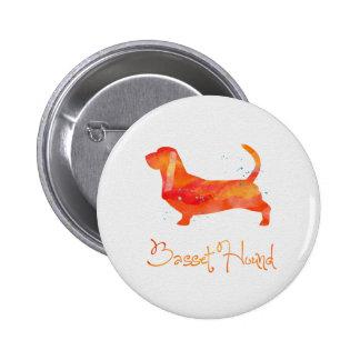 Basset Hound Watercolor Design 6 Cm Round Badge