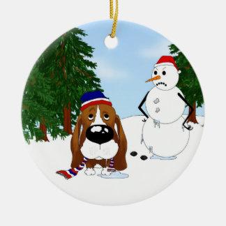 Basset Hound Winter Scene Christmas Ornament