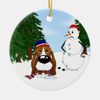 Basset Hound Winter Scene Round Ceramic Decoration