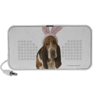 Basset hound with bunny ears laptop speakers