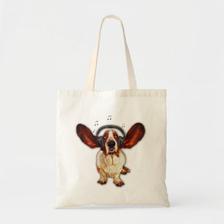 Basset Hound With Earphones, Pop Art, Budget Tote